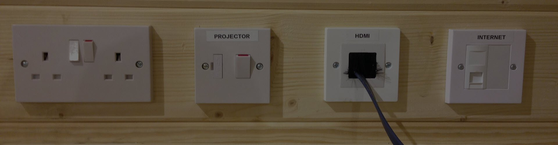 HDMI and Internet outlets for Log Cabins