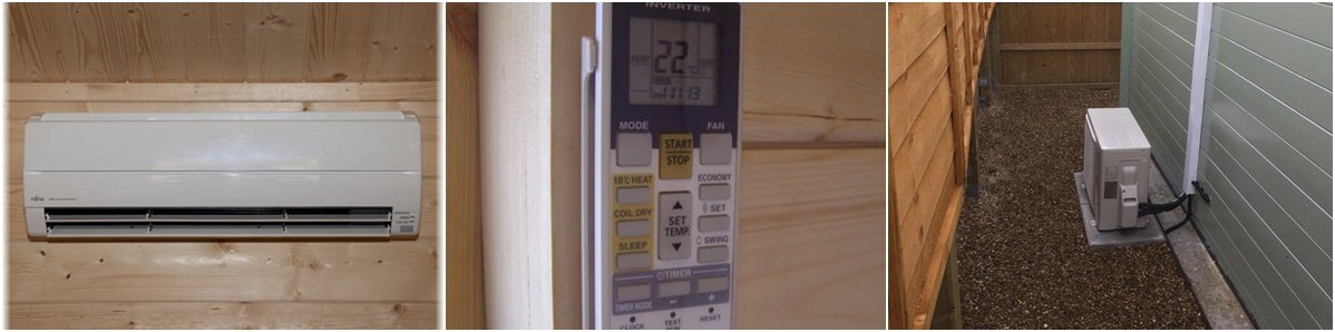Log Cabin - Wall Mounted Air Conditioning - Remote Control - External Inverter