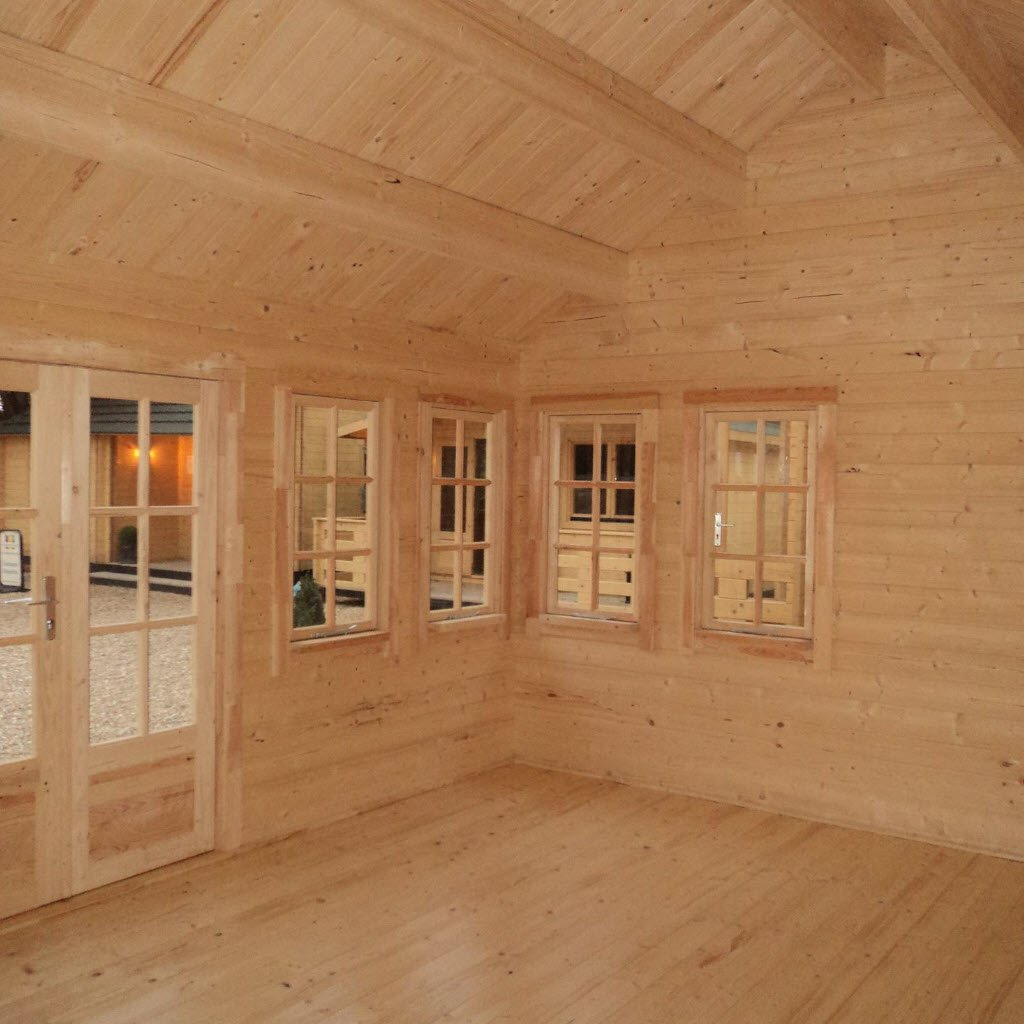 Inside the 'Norfolk' Log Cabin - Spacious, light and airy for comfortable office working