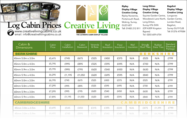 Log Cabin Price List - Garden Log Cabin Prices