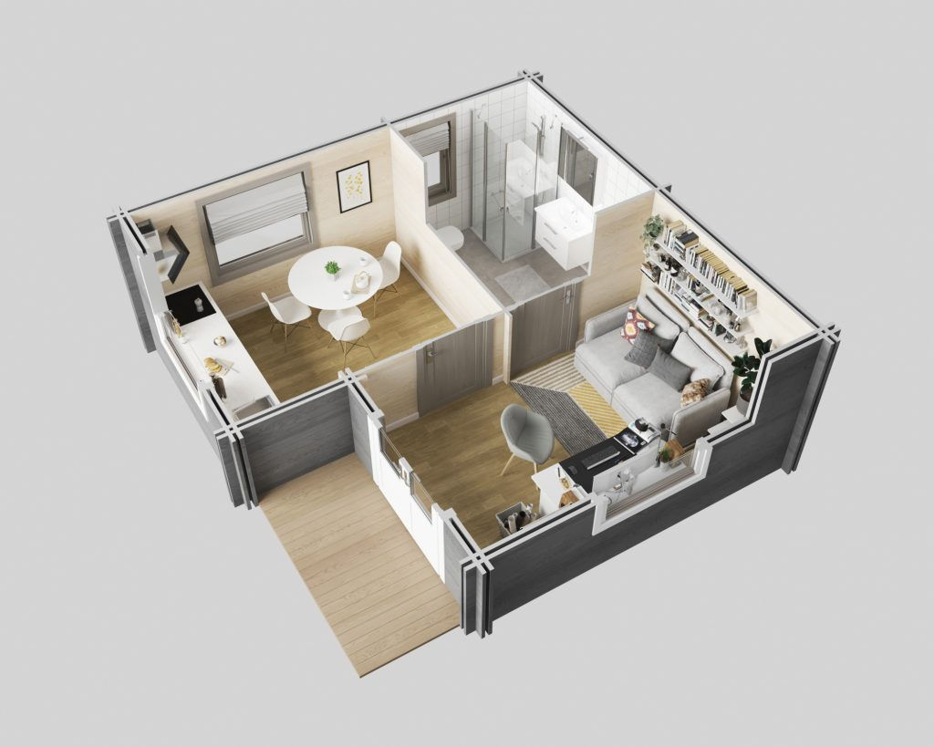 3D interior plan of the Surrey Cabin