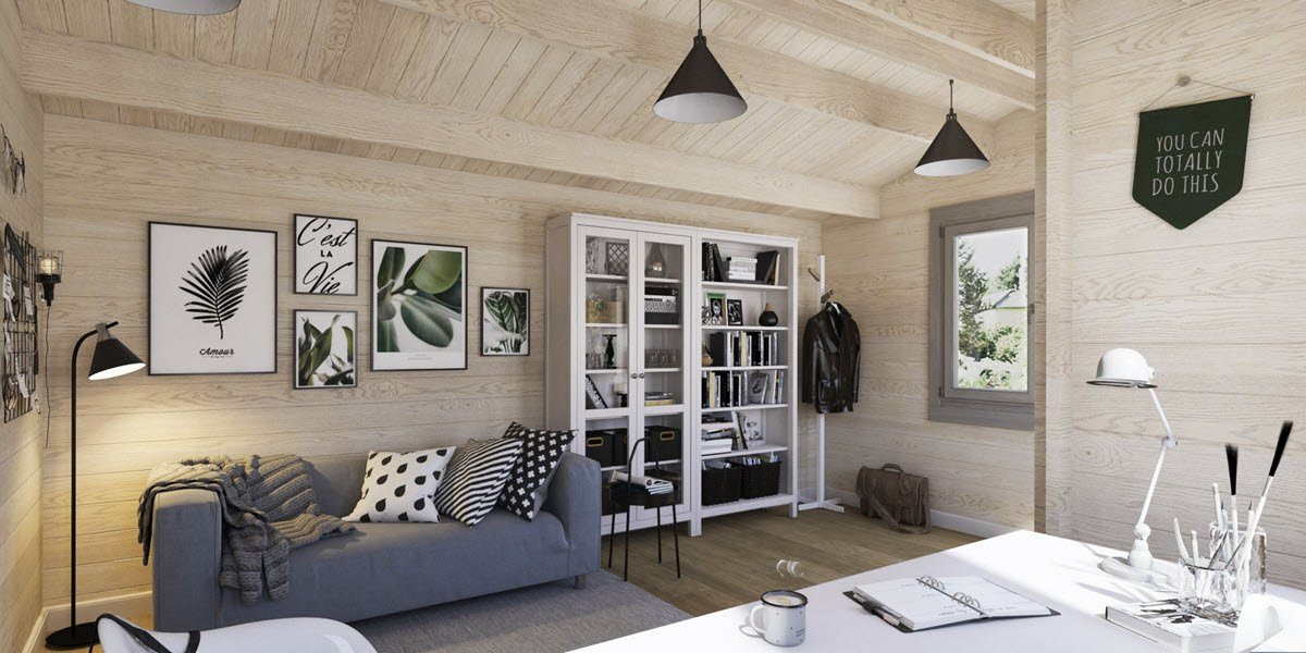 Dorset Log Cabin Home Office Interior 1