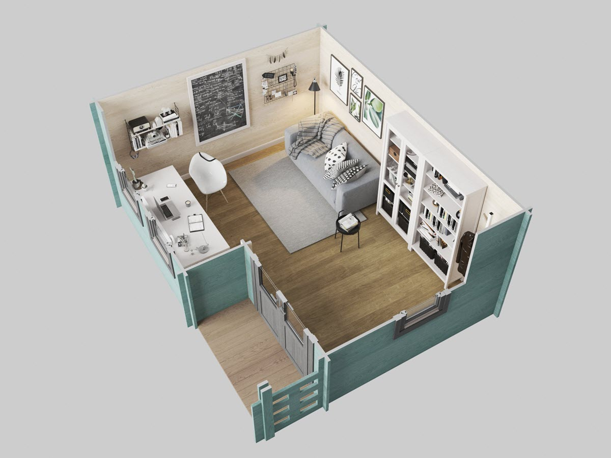 Dorset Log Cabin layout used as a garden home office