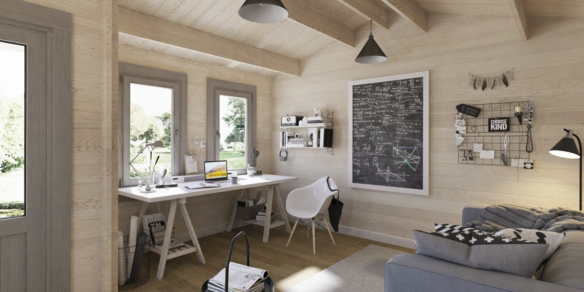 Doset Log Cabin Home Office Interior 2