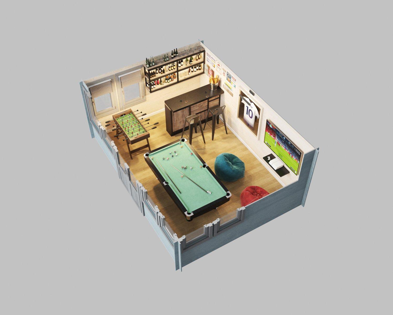 Norfolk Cabin 3D plan