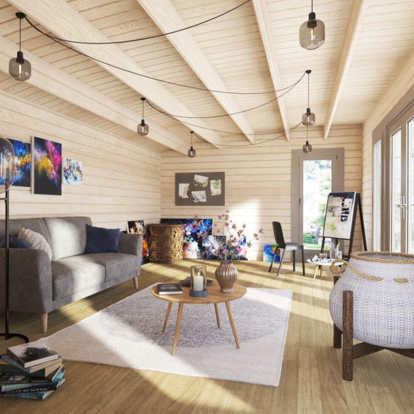 Inside of Berkshire cabin as a Artists studio