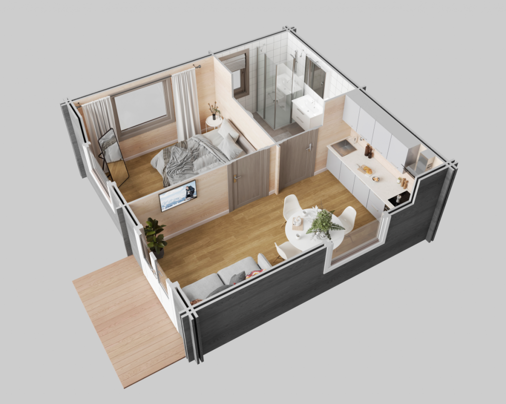 3D view of the 'Surrey' Log Cabin, used as a Granny Annexe