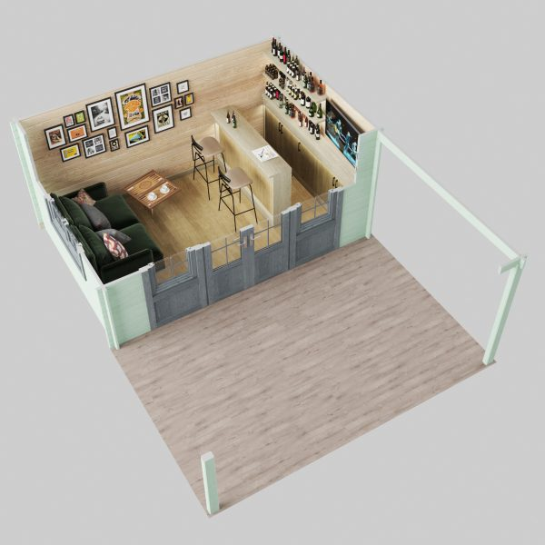 Cumbria Cabin 3d plan