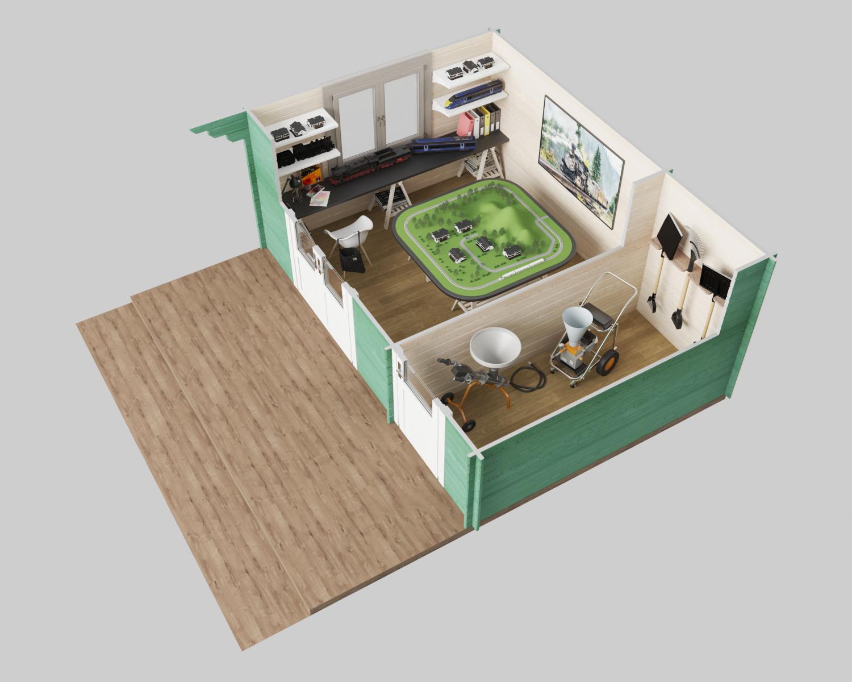 Devon Cabin 3D plan