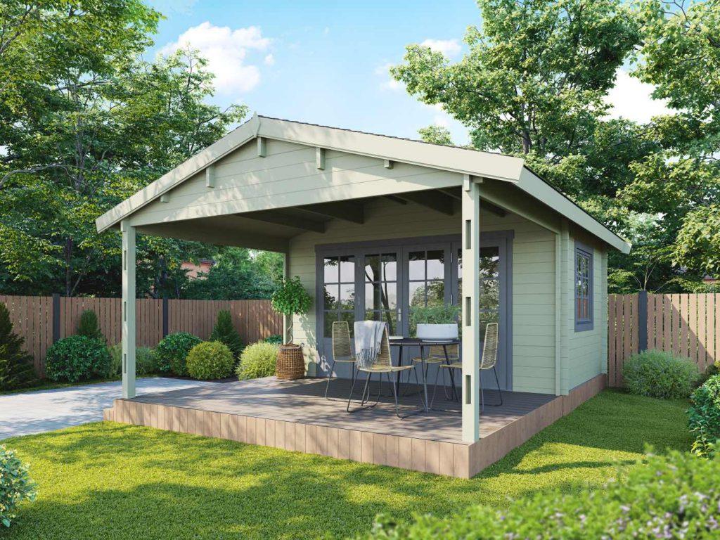 The 'Cumbria Log Cabin' in a summer garden setting