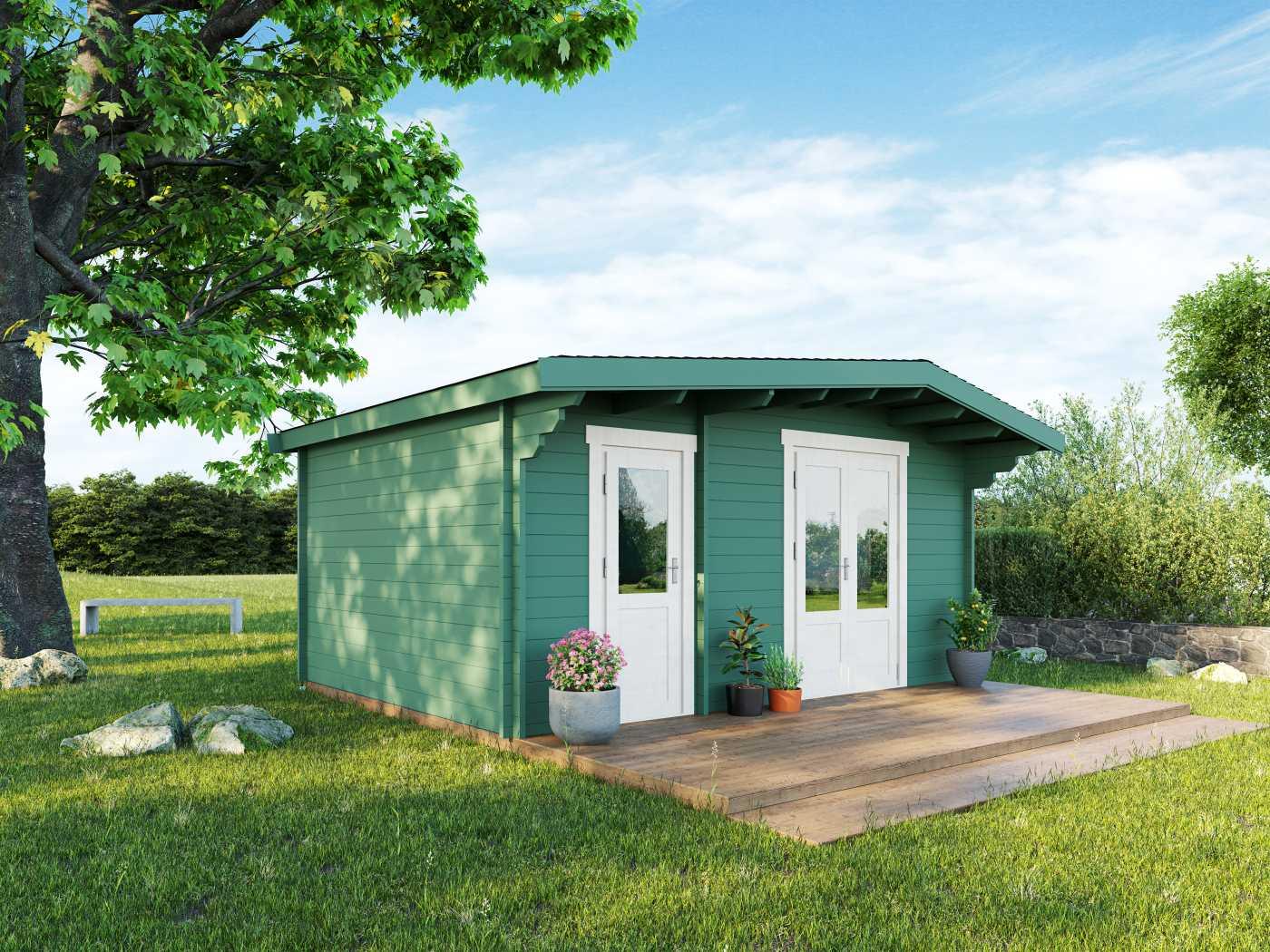 The 'Devon Log Cabin' in a summer garden setting