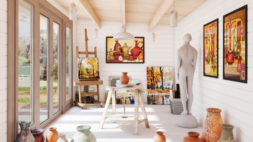 Wiltshire cabin being used as painting and ceramic studio