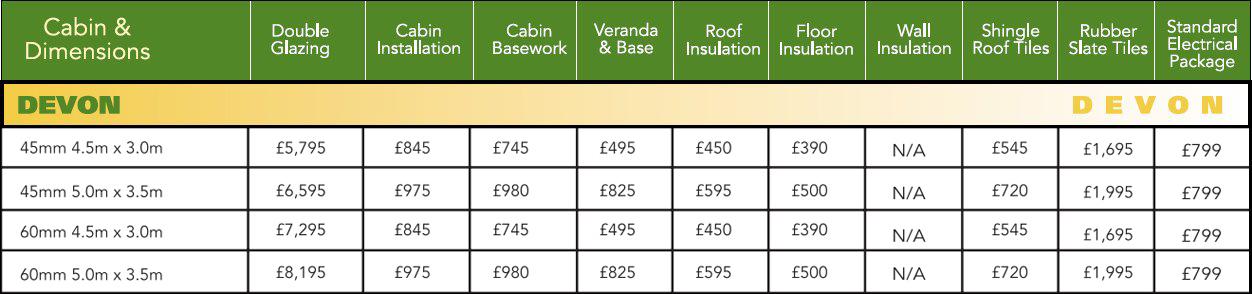 Devon Log Cabin Optional Extras Price List