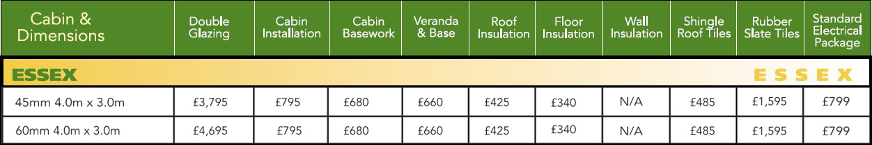 Essex Log Cabin Optional Extras Price List