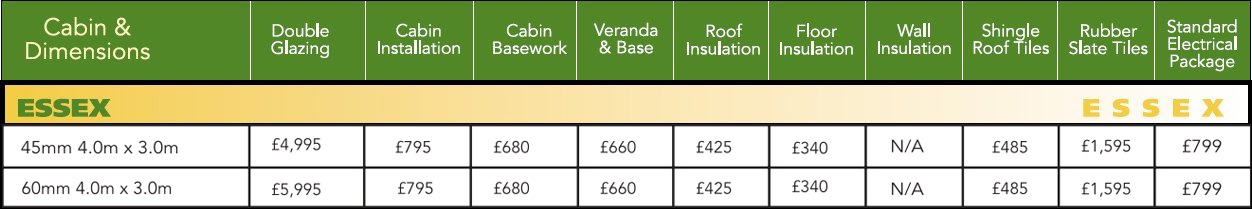 Essex Log Cabin Optional Extras Price List