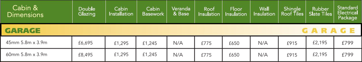 Garage Log Cabin Optional Extras Price List